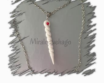 Horn of the Unicorn in polymer clay necklace
