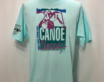 1991 Spokane River 4th Annual CANOE CLASSIC Original T Shirt / Retro Canoeing Coeur de Alene to Spokane RAX Sponsored Souvenir Mens XLarge