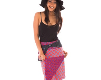 Reversible Cotton Skirt Purple Red Black Blue Print with Detachable Pocket Long Length
