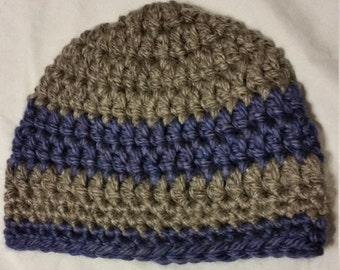 Navy Blue and Charcoal Gray Striped Crochet Beanie Hat