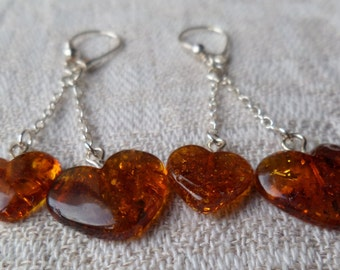 Genuine Baltic Amber Hearts Glittering Earrings 925 Sterling Silver Solid
