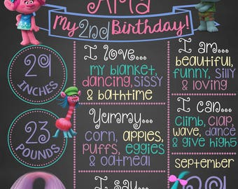 Trolls Chalkboard, First Birthday Chalkboard, Printable Chalkboard, Trolls