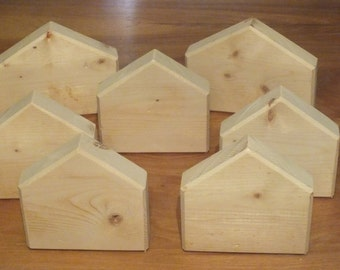 Wood Block House Shapes, Craft, Play, Decoration, Hobby, Project, Natural Wood, Unfinished, Sustainable