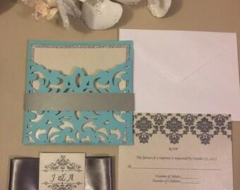 Lace pocket invitation - wedding invitation - pocket invitations - laser cut pocket fold, insert card, RSVP card, envelopes and ribbon
