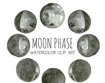 Space Galaxy Moon Phases Clip Art - Watercolor Clip Art - Watercolor Moon Art