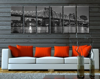 Black/White London Bridge- Extra Large Split Framed Canvas Print