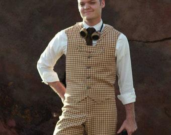 Men's Steampunk Plaid Vest and Pant combo