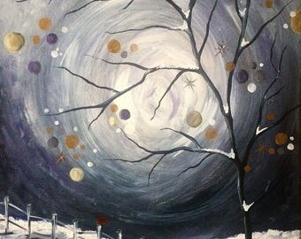 Snowy Night: Acrylic Painting on Canvas