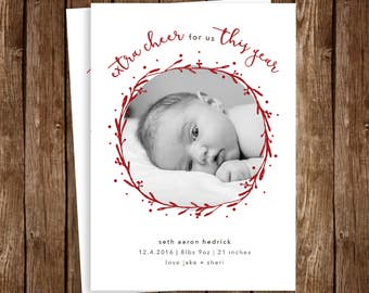 Holiday/Winter/New Years Birth Announcement - DIY Printable