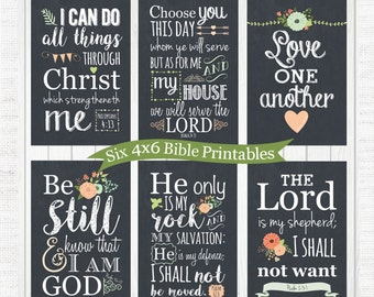 6 Bible Quotes {printable} 4x6, Lord is my shepherd, love one another, be still and know that I am God, I can do all things through Christ