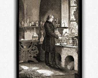 Biology, Chemistry, Alchemy Vintage Print - Science Poster - Chemistry Poster - Office Decor - Office Art - Professor Decor - Professor Art