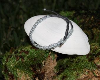 Blue and Silver Macramé Hemp Bracelet