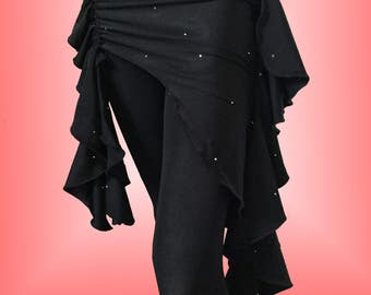 Black on Black Belly Dance Hip Scarf / Asymmetrical Overskirt with Rhinestone Accents