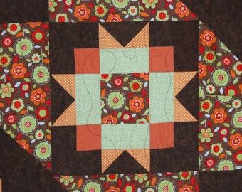 Queen Size Quilt; Orange green Brown Quilt; Star Quilt; Vibrant Star quilt; Modern bed size quilt;