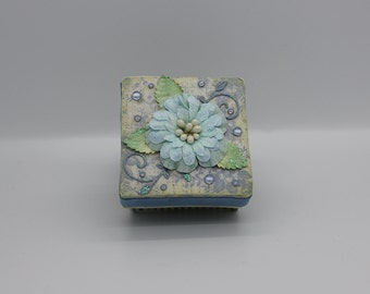 Cute handmade gift box , keepsake box in light blue
