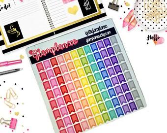 Rainbow Mini Flags - Functional Planner Stickers - ECLP - Plum Paper - Travelers Notebook - Fiolfax