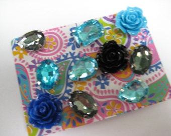 Decorative Thumbtacks, Push Pins Set, Bulletin Board Tacks, Push Pins, Thumb Tacks, Office, Cork Board, Cubicle Decor Flowers Rhinestones/14