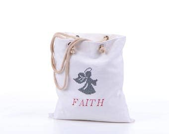 Canvas Personalized White tote bag, Custom Faith embroidered bag, Angel tote bag, Cross stitch, Summer Beach bag, Designers boutique bag