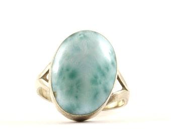 Vintage Oval Blue Larimar Ring 925 Sterling Silver RG 1033