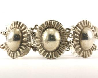 Vintage Mexico Oval Textured Links Bracelet 925 Sterling BR 1900
