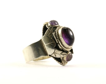 Vintage Amethyst Poison Ring 925 Sterling Silver RG 1843-E