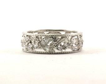 Vintage Floral Design Crystal Band Ring 925 Sterling Silver RG 1965-E