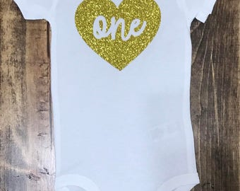 "Gold Glitter ""One"" Heart First Birthday Onesie"