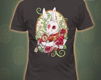 WHITE RABBIT T-shirt - Alice Wonderland Top quality apparel printed in USA Tshirt art nouveau tee books Rabbit hole by Medusa Dollmaker