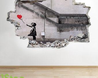 Banksy Girl Wall Sticker 3d Look - City Graffiti Bedroom Lounge Wall Decal Z231