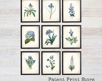Blue Botanical Art Prints. Blue Flower Prints. Flower Wall Art. Botanical Print. Kitchen Art Prints. Dining. Botanical Wall Art. Farmhouse.
