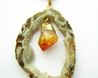 Sliced Geode Citrine Leather Necklace