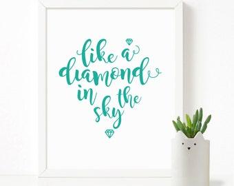 Like a diamond in the sky nursery poster, Scandinavian print, kids room decor, kids wall art, nursery decor