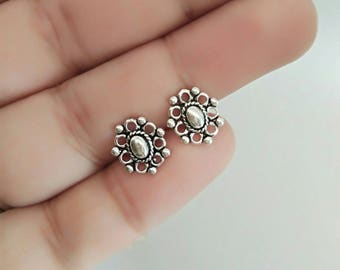 Boho stud earrings - 925 sterling silver - bohemian earrings - Boho flower jewelry - geometric earrings - dots earrings - minimal jewelry