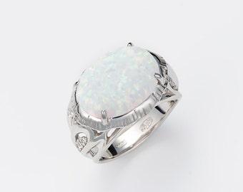 Silver Ring ''Jellyfish'', Nautical jewelry, Beach jewelry, Animal jewelry, White opal