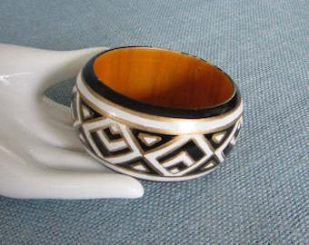 Wood Bangle Bracelet, Black White and Gold Geometric Design