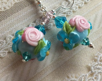Blue Lampwork Floral Earrings with Blue and Pink Flowers, Lampwork Jewelry, Valentines Day Gift, Mothers Day, Gift For Her