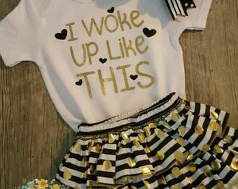 3-6 Months, Gold and Black, Ruffles, Baby Girl, 3 Piece Outfit, Baby Shower, Super Cute, Ruffled Bloomers, Bow and Bodysuit