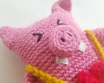 Crocheted Farmer Pig with Hat