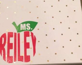 Customizable teacher apple sticker decal