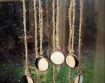 Phases of the moon stained glass wall hanger / mobile suncatcher symbolism pagan forest unique copper foil lead ornament natural wood