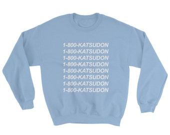 Yuri on Ice Katsudon Shirt White Black Blue or Pink Sweater Sweatshirt Yuuri Katsuki Pork Cutlet Bowl - Unisex Tumblr Aesthetic Clothing