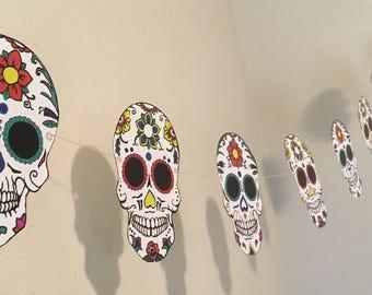 sugar skull party garland digital download file diy printable coloring pages party - Cinco De Mayo Skull Coloring Pages