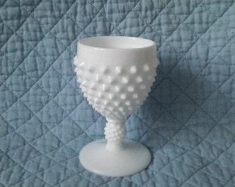 Fenton Milk Glass Hobnail Small Goblet, c.1960