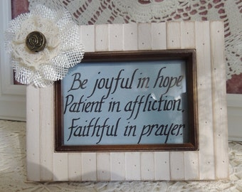 Inspirational scripture framed art with burlap flower embellishment