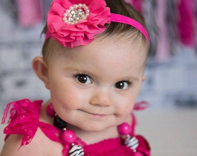 Girls Flower Headband / Hair Clip PICK COLOR, photo prop, birthday headband, baby headband, baby bows, hot pink headband, black, white, gray