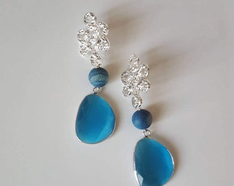 Handmade earrings light blue