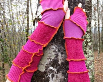 Mittens/heating arm in patchwork of wool and acrylic, recycled in shades of pink!