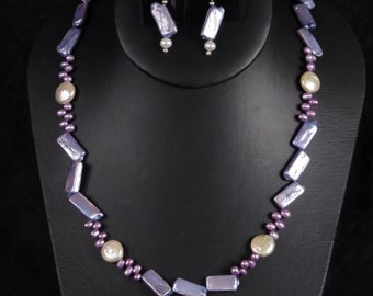 Lavendar fresh water pearl necklace set