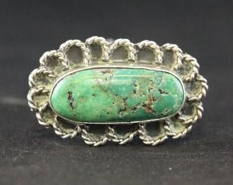 Vintage Genuine Turquoise Gemstone Sterling Silver Ring Size 6.5
