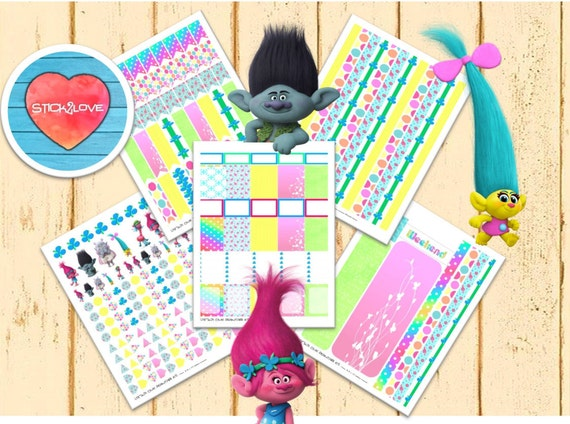 Trolls Gang Weekly Planner Stickers Printable